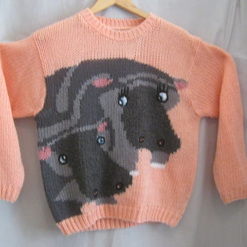 Vintage 80s HIPPO Graphic Slouchy Oversized SWEATER Avant Garde Indie Hipster Style LARGE