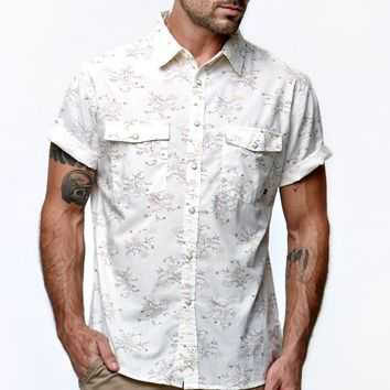Brixton Wayne Short Sleeve Woven Shirt - Mens Shirt - White