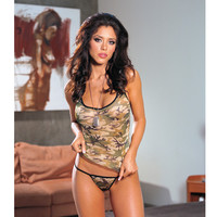 Camouflage Print Lycra Net Cami & Thong O-s