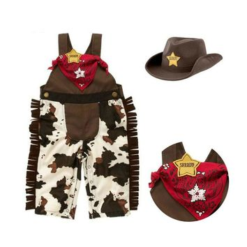 Baby cowboy romper costume infant toddler boy girl clothing set 3pcs hat +scarf +romper