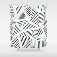 Ab Linear Zoom With Mint Shower Curtain by Project M | Society6