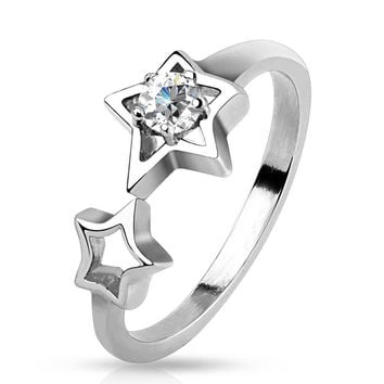 Starfall - FINAL SALE Double stars with white cubic zirconia solitaire silver stainless steel ring