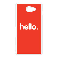 Hello White Hard Plastic Case for Sony M2 by textGuy