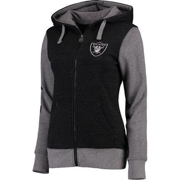 Women's Oakland Raiders Pro Line Heathered Black Team Essentials Unity Clean Color Full-Zip Hoodie
