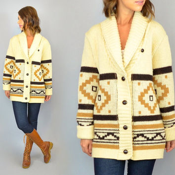 vtg 60s/70s PENDLETON knitted WOOLEN MILLS unisex southwest sweater cardigan, extra small-large