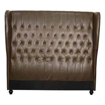 Alice Queen Bonded Leather Wing Headboard, Vintage Brown
