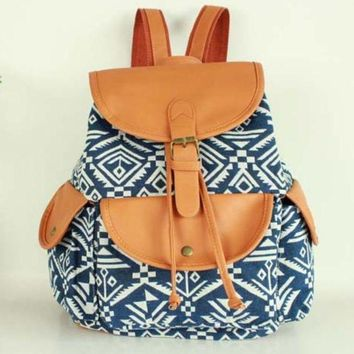 LMFON1O Day First Blue Aztec Travel Bag Canvas Lightweight College Backpack