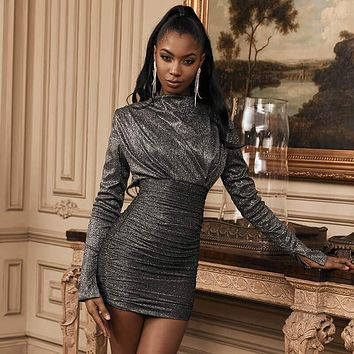 Silver Turtleneck Ruched Bodycon Dress