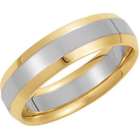 Men's 14K Gold Two-Tone 6mm Comfort Fit Plain Wedding Band (Available Ring Sizes 7-12 1/2)