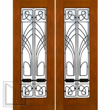 "2-1/4"" Art Nouveau Mahogany Double Doors Low-E Glass Iron Work"