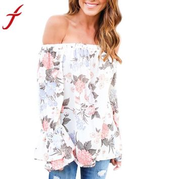 Sexy Off Shoulder Blouse 2017 Summer Fashion Women Floral Printed blusas Casual Long Flare Sleeve streetwear blouse Tops Shirt