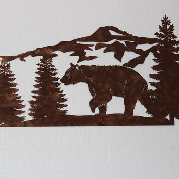 Bear and Mountain Pine Tree Scene Sign Large Metal Wall Art Country Home Decor