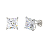 10k White Gold Square Stud Earrings Clear CZ Cubic Zirconia Princess Cut Basket