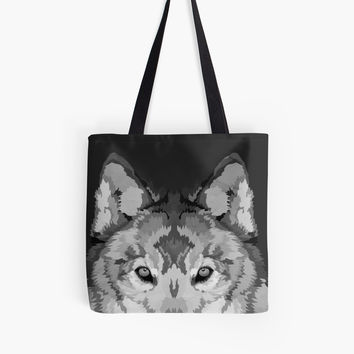 'Gray Wolf Illustration - Black & White' Tote Bag by danellemichaud