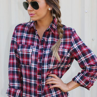 Fun In Flannel Top: Navy/Red