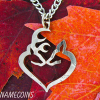 Buck and Doe Heart In Half Dollar hand cut coin by NameCoins