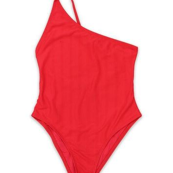 One Shoulder Ribbed One Piece - Red