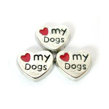 10pcs /Lot FC043 Red Heart Floating Locket Charms I Love My Dog Charms For Glass Floating Charms For Living Lockets