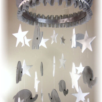Elephant Stars Mobile, Nursery Bedding, Neutral Nursery Decor, Baby Shower Gift, Custom Mobile, Photo Prop