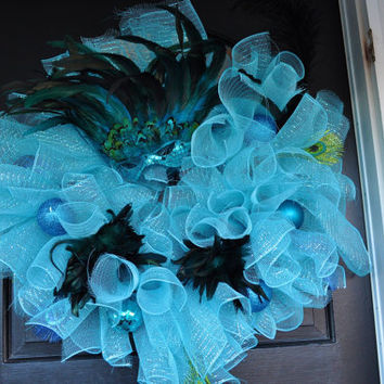 Mardi Gras Wreath, Spiral Wreath, Deco Mesh, Blue Wreath, Wreath, Deco Mesh Wreath, Mardi Gras, Electric Blue, Baby Blue