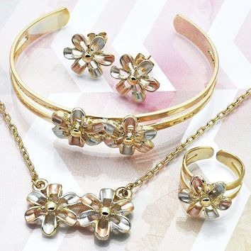 Gold Layered Girls Flower Earring and Pendant Children Set, by Folks Jewelry
