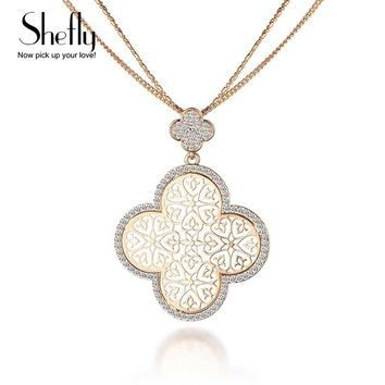 2018 New Four Leaf Clover Necklace Female Silver KC Gold Color Hollow Flower Design Pendant Chain Birthday New Year Gift