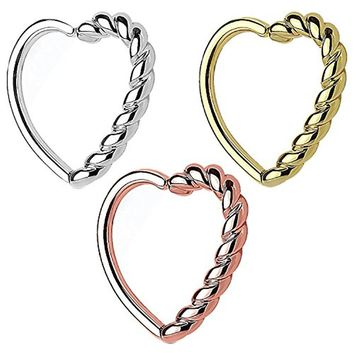 BodyJ4You 3PCS 16G (1.2mm) Daith Earring Piercing Half Heart Tragus Helix Cartilage Hoop Body Jewelry