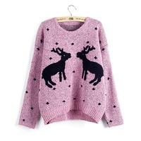 Pink Reindeer Print Christmas Knit Sweater