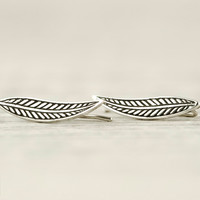 Leaf Earrings Ear Cuff Ear Climber Sterling Silver Pin Earrings Ear Jacket Ear Wrap Earrings Boho Jewelry - FES025 T1