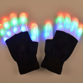 Pair Of Fashion 7-Mode Material Colorful Changing LED Finger Lighting Flashing Gloves