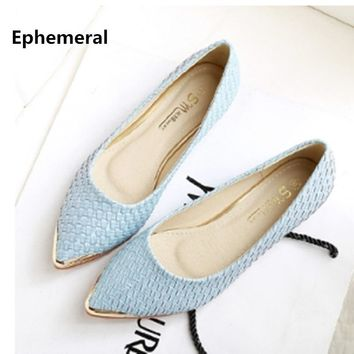 Lady's weaving Glitter Flats Pointed toe Plus size Loafers Women 34-44 Blue Back White 2018 New arrivals Breathable Slip-ons