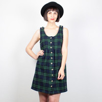 Vintage 90s Dress 1990s Dress Navy Blue Green Plaid Flannel Mini Dress Soft Grunge Dress Babydoll Dress Prep Uniform Jumper Dress S Small M