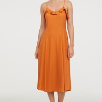 Sleeveless frill-trimmed dress - Dark orange - Ladies | H&M GB