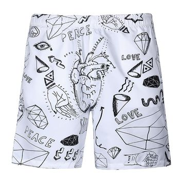 Hot  3d art sketches drawing couple beach fashion art shorts cool beach pants  couple beach shorts