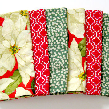 Christmas Cloth Napkins - Set of 6 - Large Dinner Napkins, Table Napkins - Mismatched, Assorted, Variety - Red Green Cream