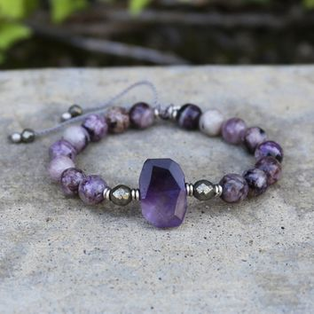 Charoite and Amethyst Adjustable Bracelet