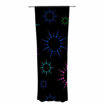"NL Designs ""Rainbow Fireworks Black"" Multicolor Geometric Decorative Sheer Curtain"