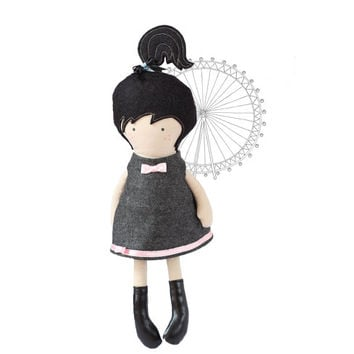 Doll Clothes Dress Soft Wool Back cut out gray Sleeveless Dress with Pink White dotted bow - Fit My 12 inch Fashion Dolls