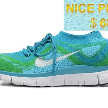 Latest and Newest Men Nike Free Flyknit+ 5 Neon Green Hyper Blue Pure Platinum shoes