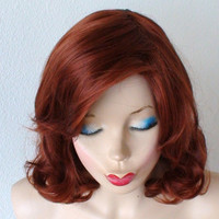 Auburn wig. Black Widow Cosplay wig. Short hairstyle Durable heat resistant synthetic wig for cosplay or daily use.