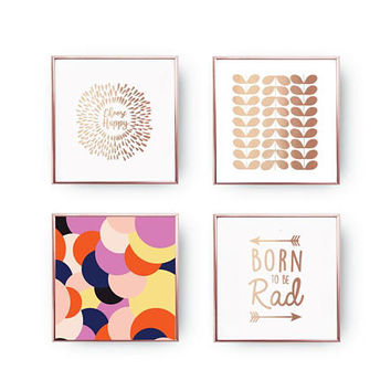 SET of 4 Prints, Choose Happy Print, Colorful Confetti, Home Decor, Happiness Set, Mid Century Print, Inspirational Quote, Gold Foil Print