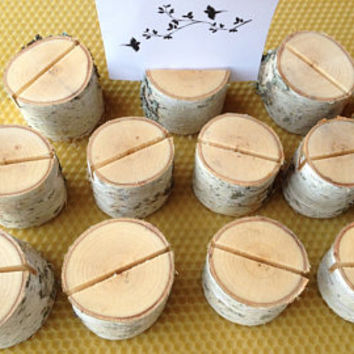 100 Wedding Place Card Holders, Rustic Weddings Table Decor, Natural Birch Wood Place Card Holders, Rustic Birch Wood Place Card Holders