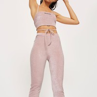 Pink Sparkle Flare Trousers by New Girl Order | Topshop