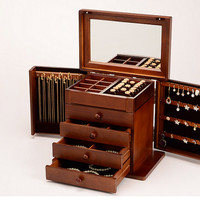 Cheap Shipping Choice: European Princess Style Wooden Jewelry Box/Jewellery Box//Holder/Cabinet with Mirror & Multiple Compartments, Velvet