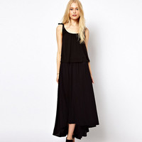 Black Halter Shoulder Lace High-Low  Maxi Dress