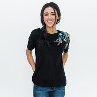 Wellman Embroidery Tee - Black | Called To Surf