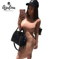 AZULINA Sexy Bodycon Khaki Little Black Dress Women Tight Evening Party Dresses Long Sleeve Robe Femme kim kardashian Midi Dress