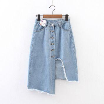 Fashion skirts high wait button skirt  overalls