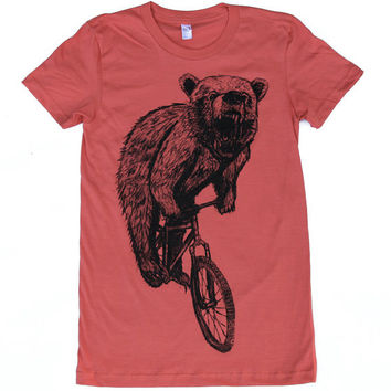 Womens BEAR on mountain BICYCLE american apparel organic t shirt S M L XL (Pomegranate)