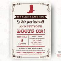 Western Bachelorette Invitation (Printable)